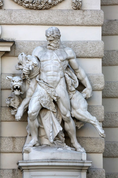 Hercules and Cerberus, Hofburg in Vienna, Austria on October 10, 2014. Art Austria Carving - Craft Product Cerberus Craft Creativity Hercules Hofburg Human Representation Marble Monument Palace Power Sculpture Statue Stone Vienna