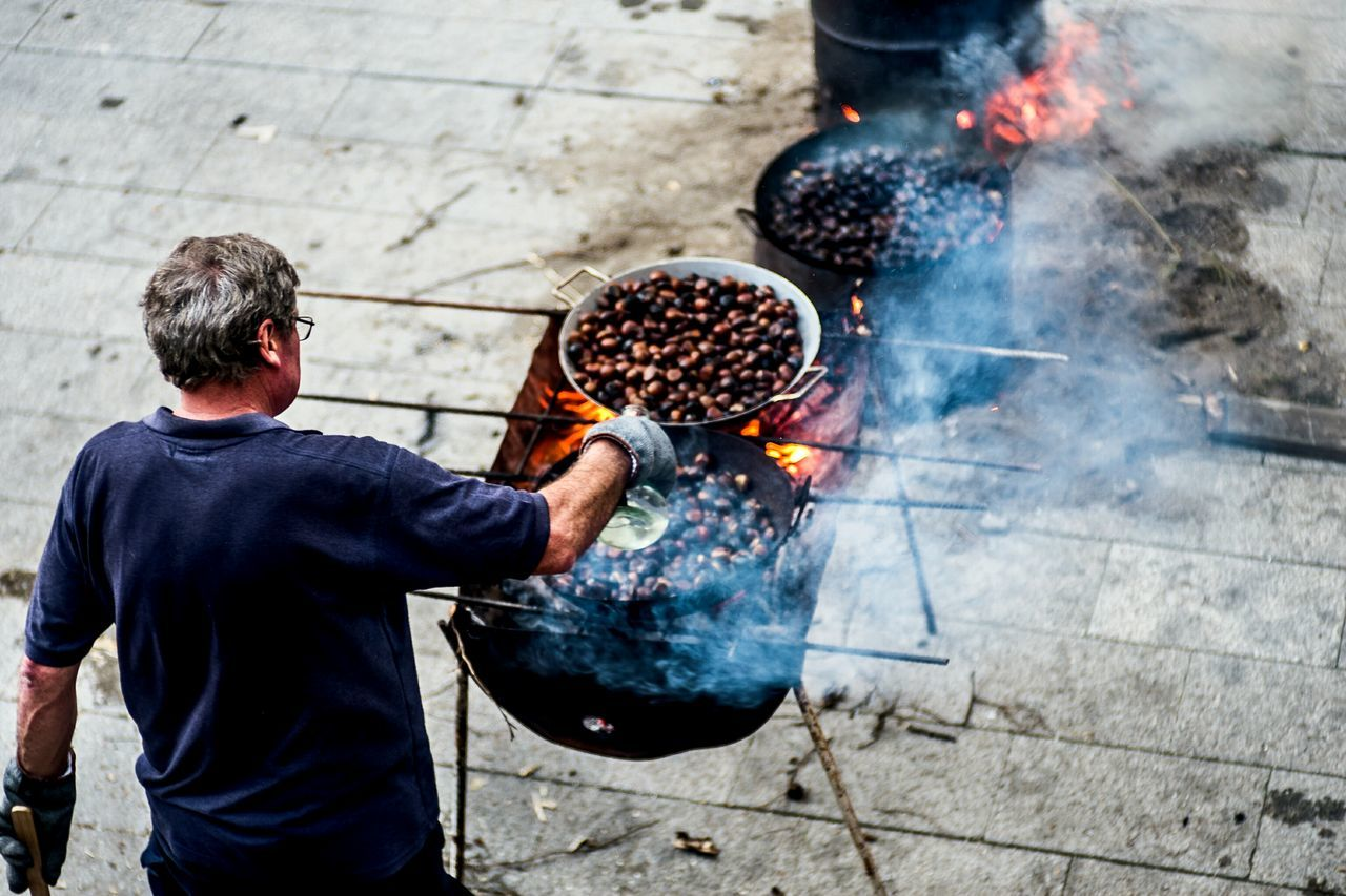 Roasting Chestnuts One Person People Outdoors Fragments Of Life Real People Open Edit Color Things I See Smoke