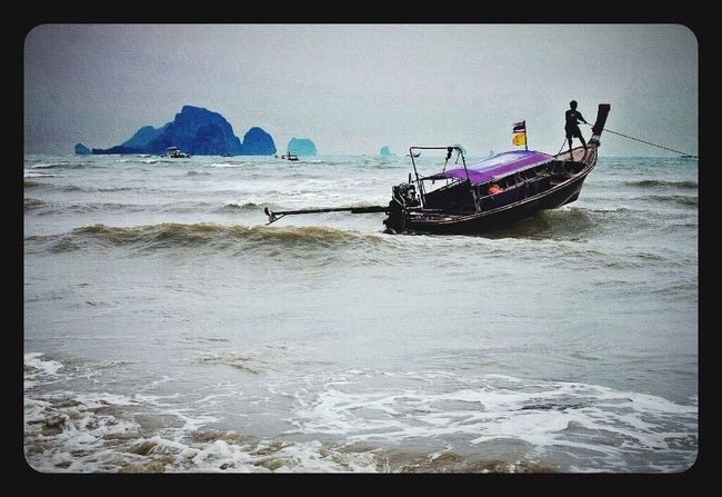 Krabi Thailand Thai Fishing Boat Stormy Water