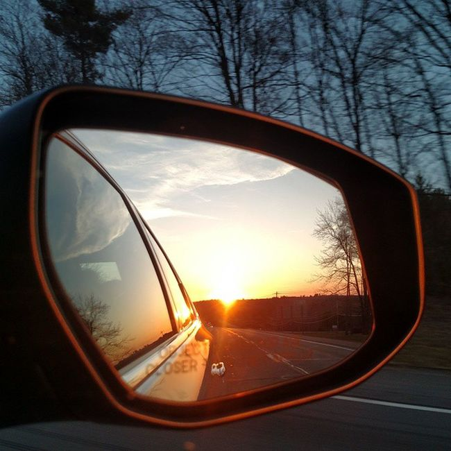 Catskill Mountains NY Objects In Mirror Are Closer Than They Appear Sideviewmirrorshot Sideviewmirror Sideview Car Mirror Sunset Mountains And Sky