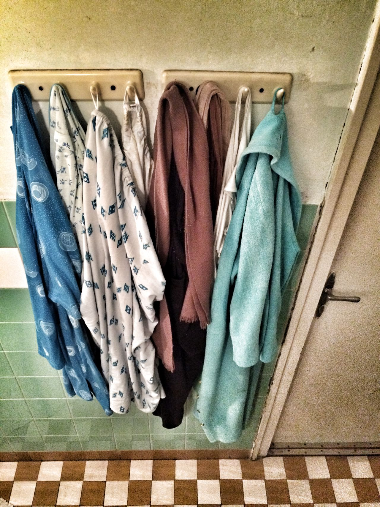 1950's Style Arhaic Bathroom Casual Clothing Door Home Interior Old Clothes Poverty Socialist Realism Variation