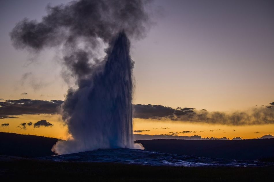 Erupting Nature Beauty In Nature Power In Nature Water Scenics Motion Geyser Hot Spring Sunset Outdoors Geology Sky Old Faithful Yellowstone National Park Yellowstone National Park Nikon