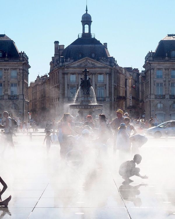 Bordeaux City City Life Hotday Water Mirror Water Streetscene Child Fountain France Architecture