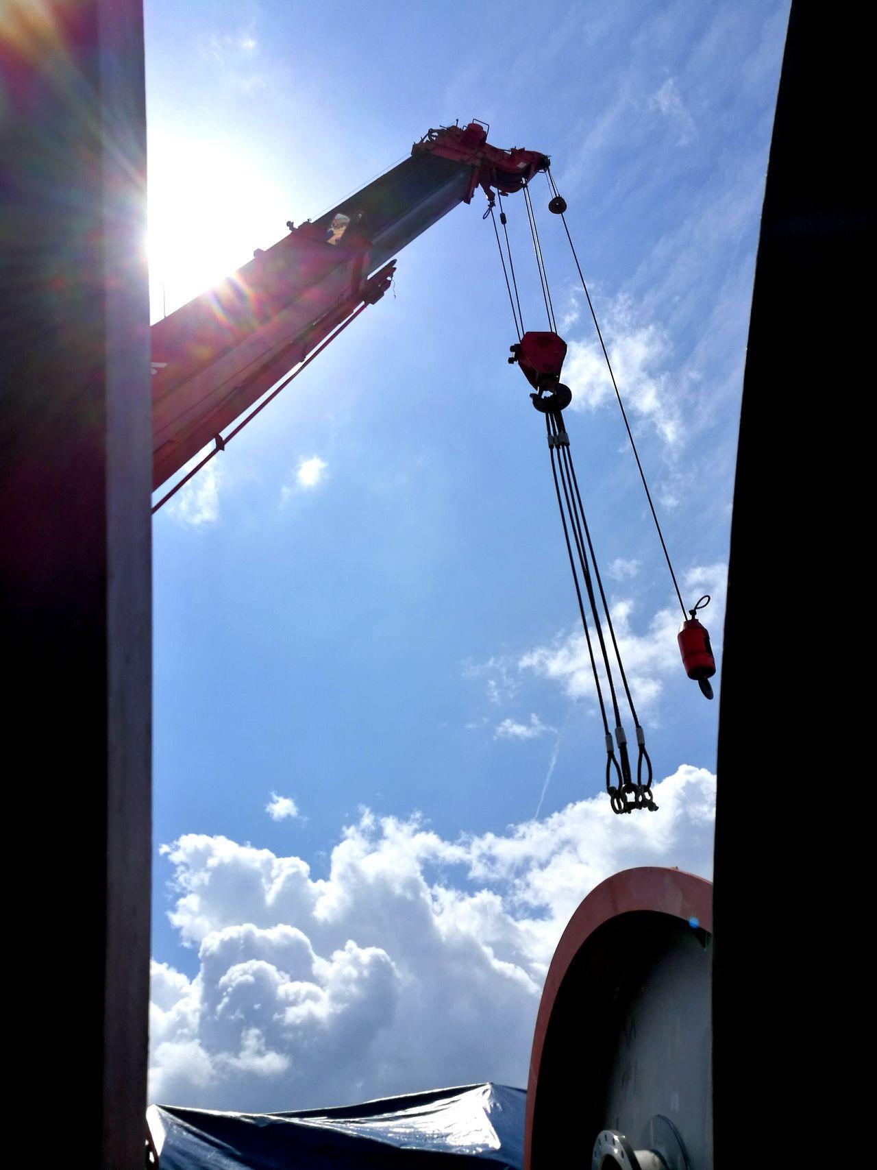 Sun Sky Outdoors Day Crane Lifting Construction Construction Site Transportation Work In Progress