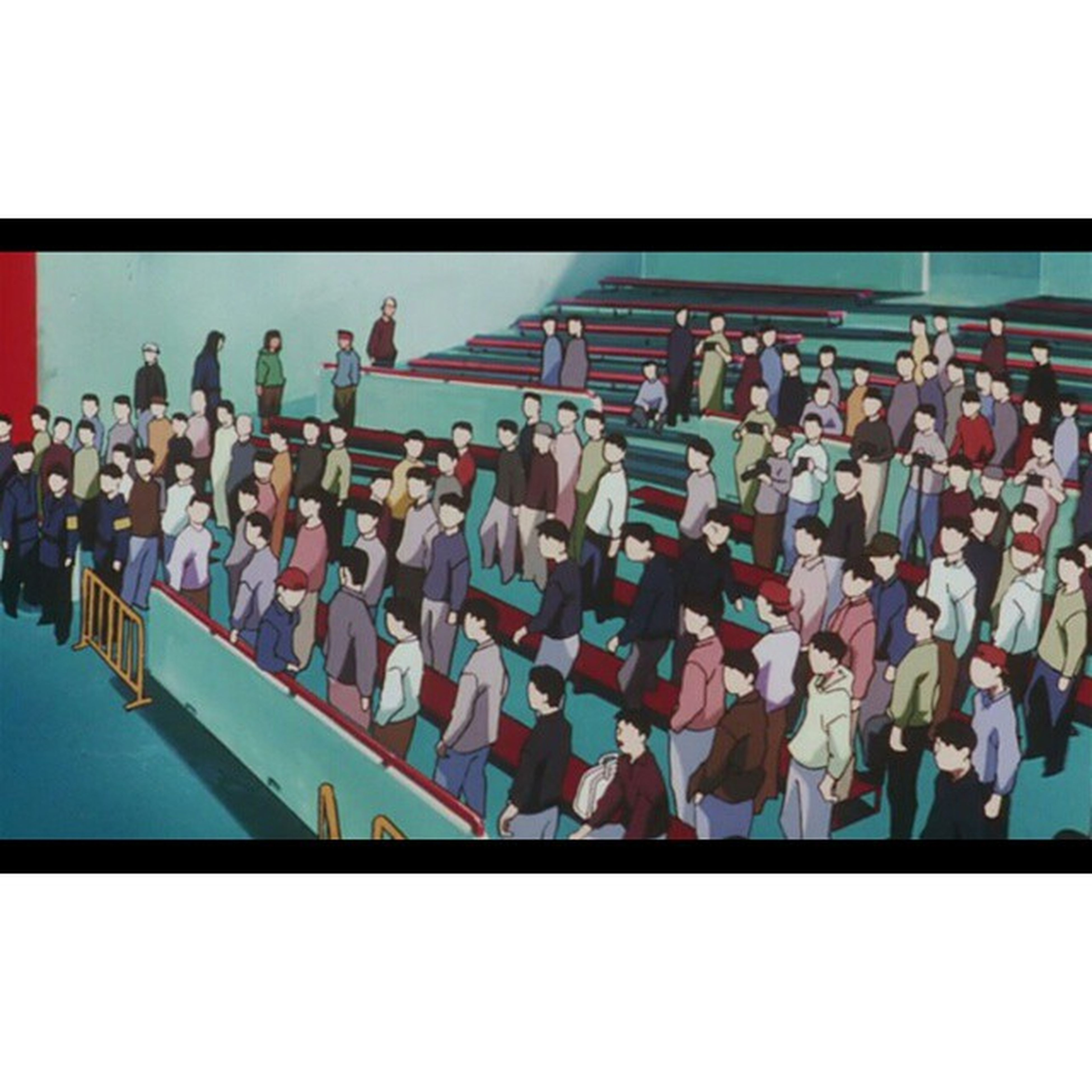 transfer print, in a row, large group of objects, abundance, auto post production filter, side by side, variation, clear sky, order, arrangement, hanging, large group of people, day, multi colored, repetition, protection, outdoors, padlock, copy space, safety