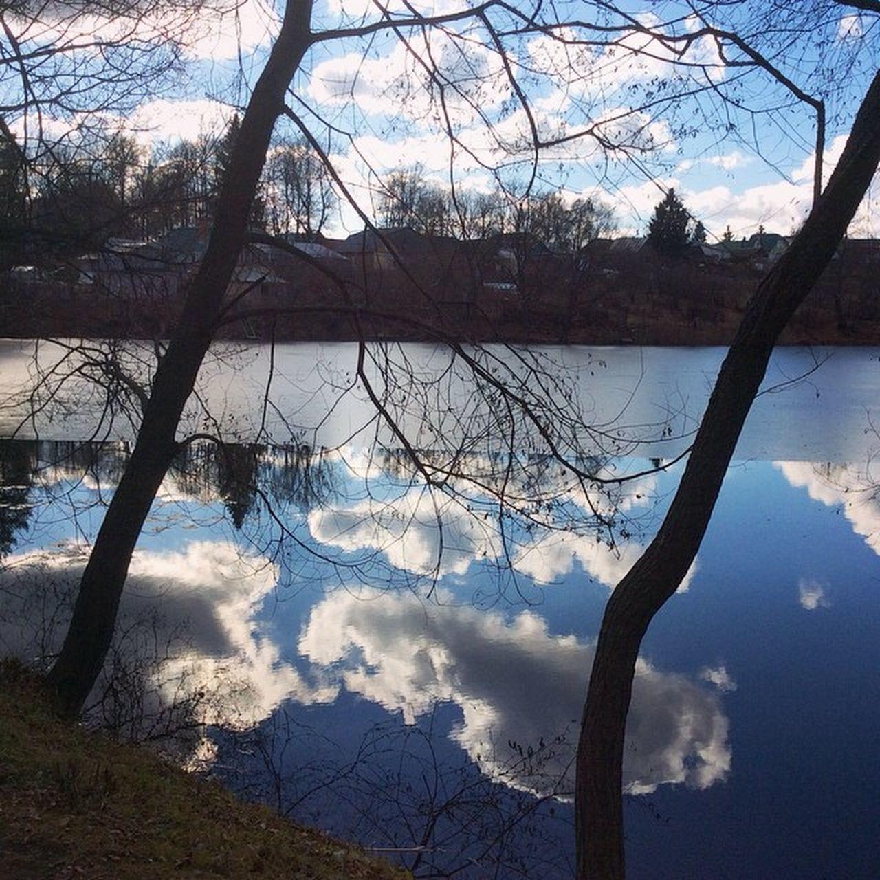 Природа Россия осень небо вода отражение отражение в воде Russia Priroda