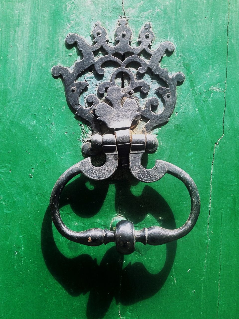 metal, door, close-up, door knocker, outdoors, no people, protection, green color, day, full frame