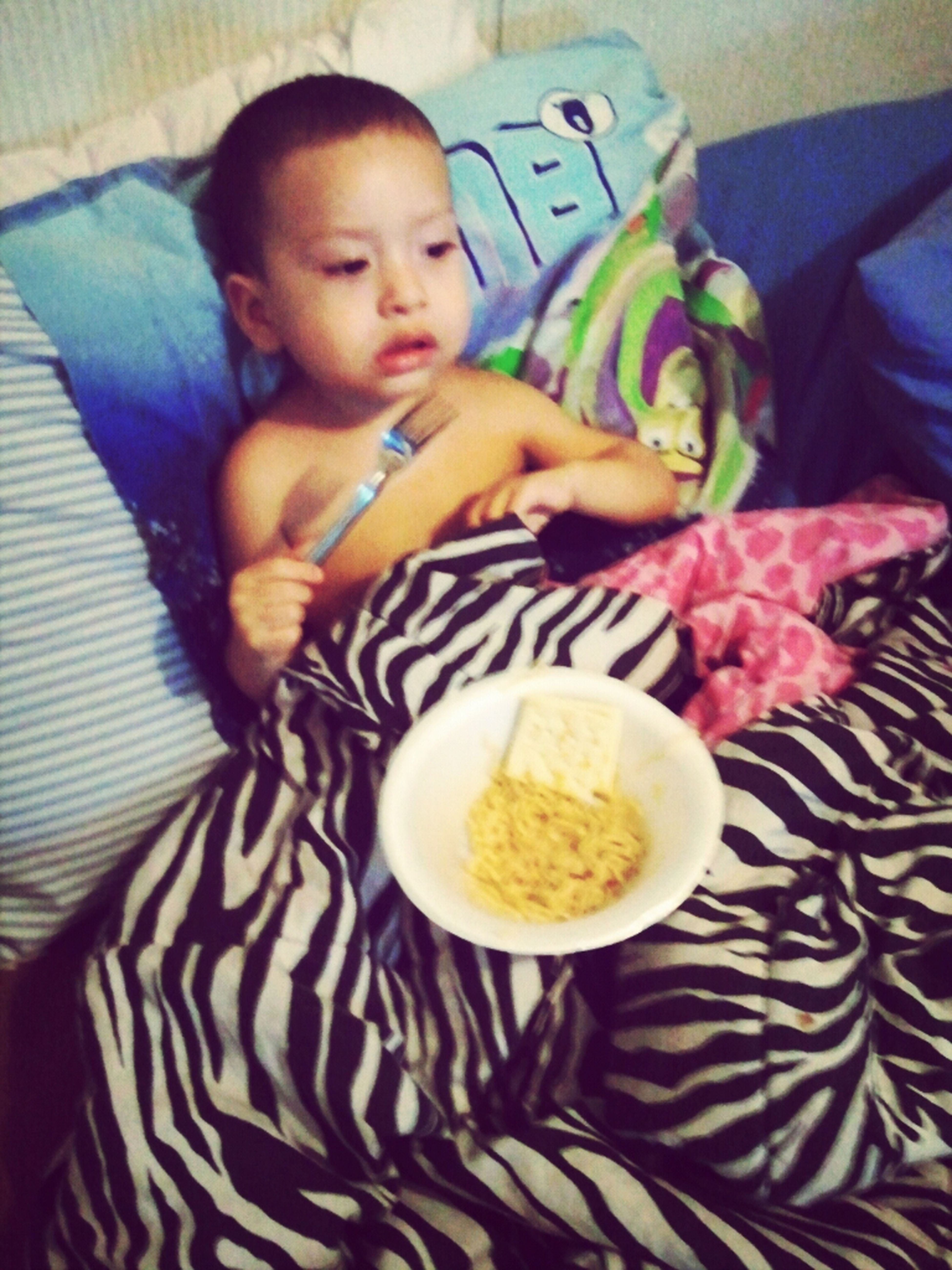 Noodles In Bed On His Sick Days