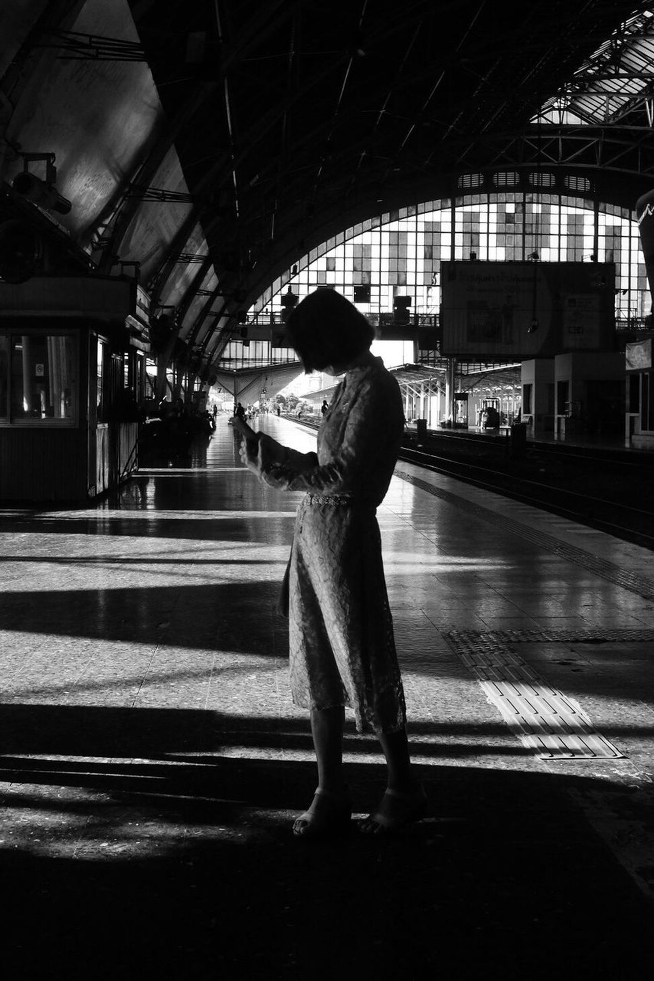 One Person Railroad Station Platform Railroad Station Monochrome Blackandwhite Street Photography Black And White Bw_collection Bangkok
