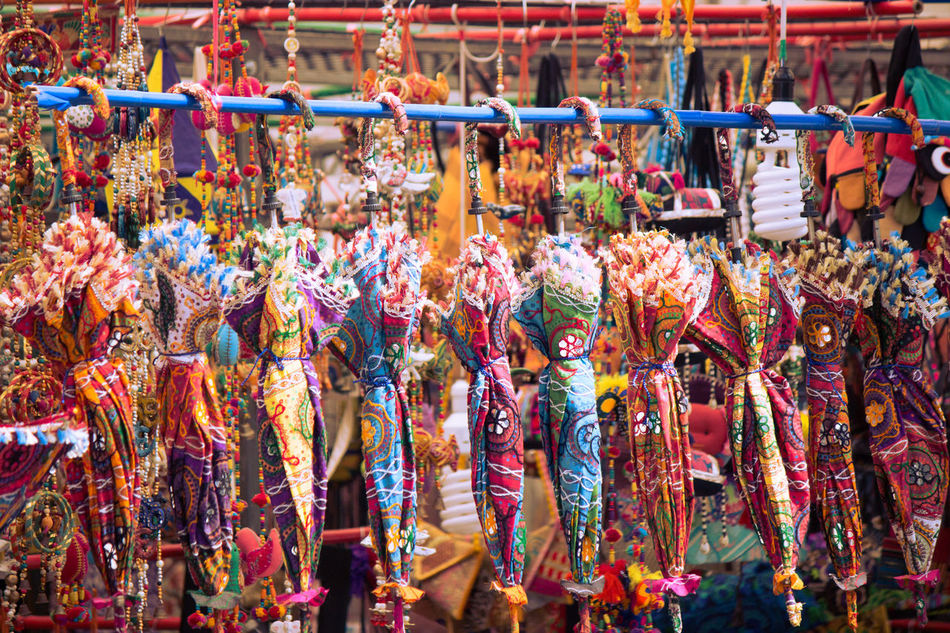 Abundance Choice Colorful Day For Sale Hanging In A Row Indian Culture  Large Group Of Objects Little India Market Market Stall Multi Colored Retail  Variation Colorful Umbrellas Pink