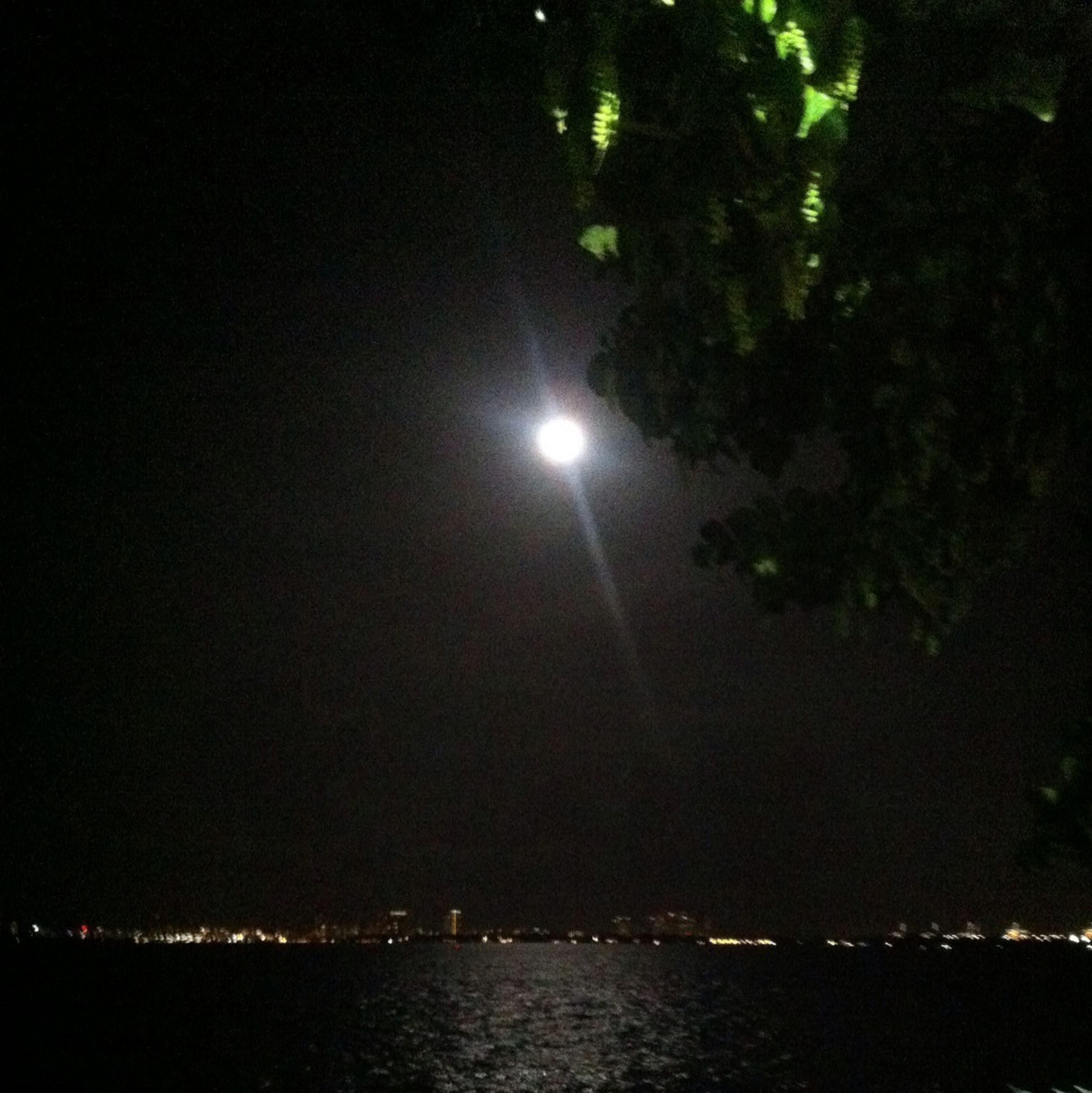 night, illuminated, water, waterfront, moon, sky, reflection, tranquility, tree, beauty in nature, scenics, nature, river, tranquil scene, dark, outdoors, glowing, light - natural phenomenon, street light, no people