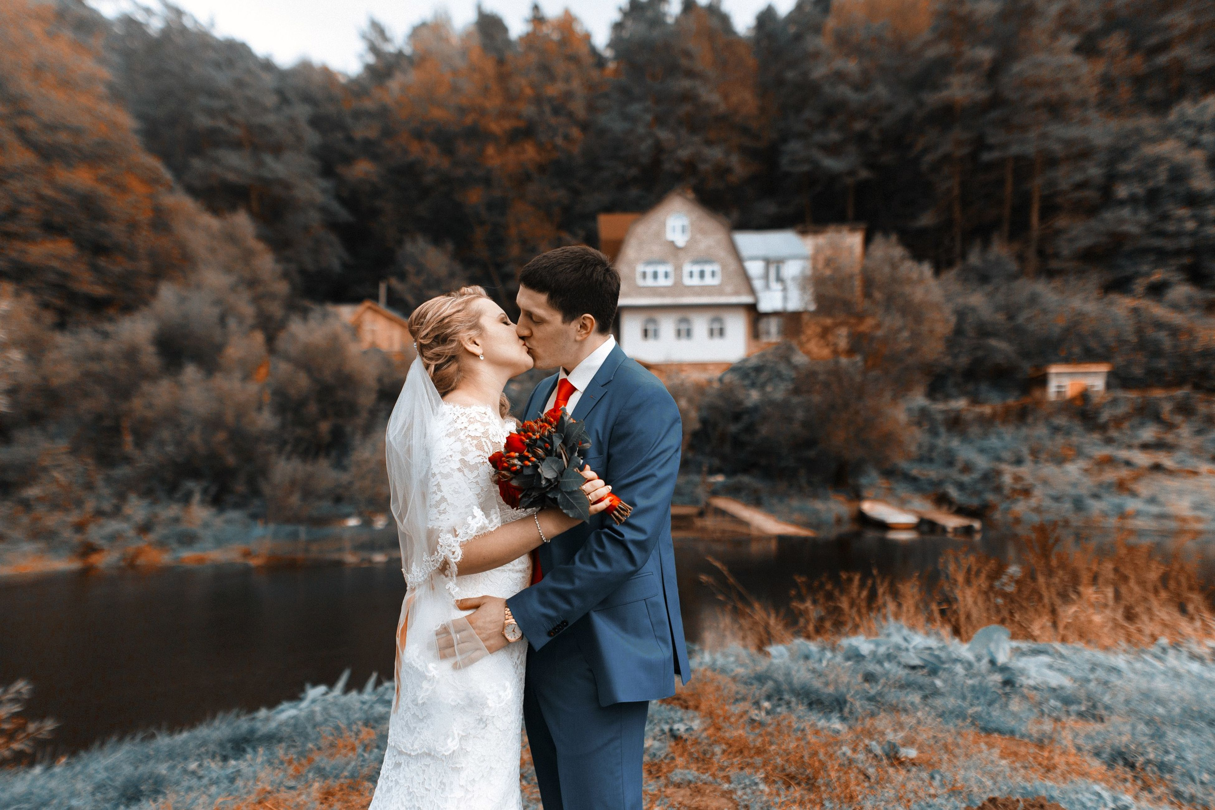 love, two people, young adult, togetherness, romance, young women, heterosexual couple, autumn, couple - relationship, happiness, flirting, women, wedding, men, bride, wedding dress, wife, adult, people, smiling, husband, bridegroom, bonding, adults only, civil partnership, outdoors, nature, day