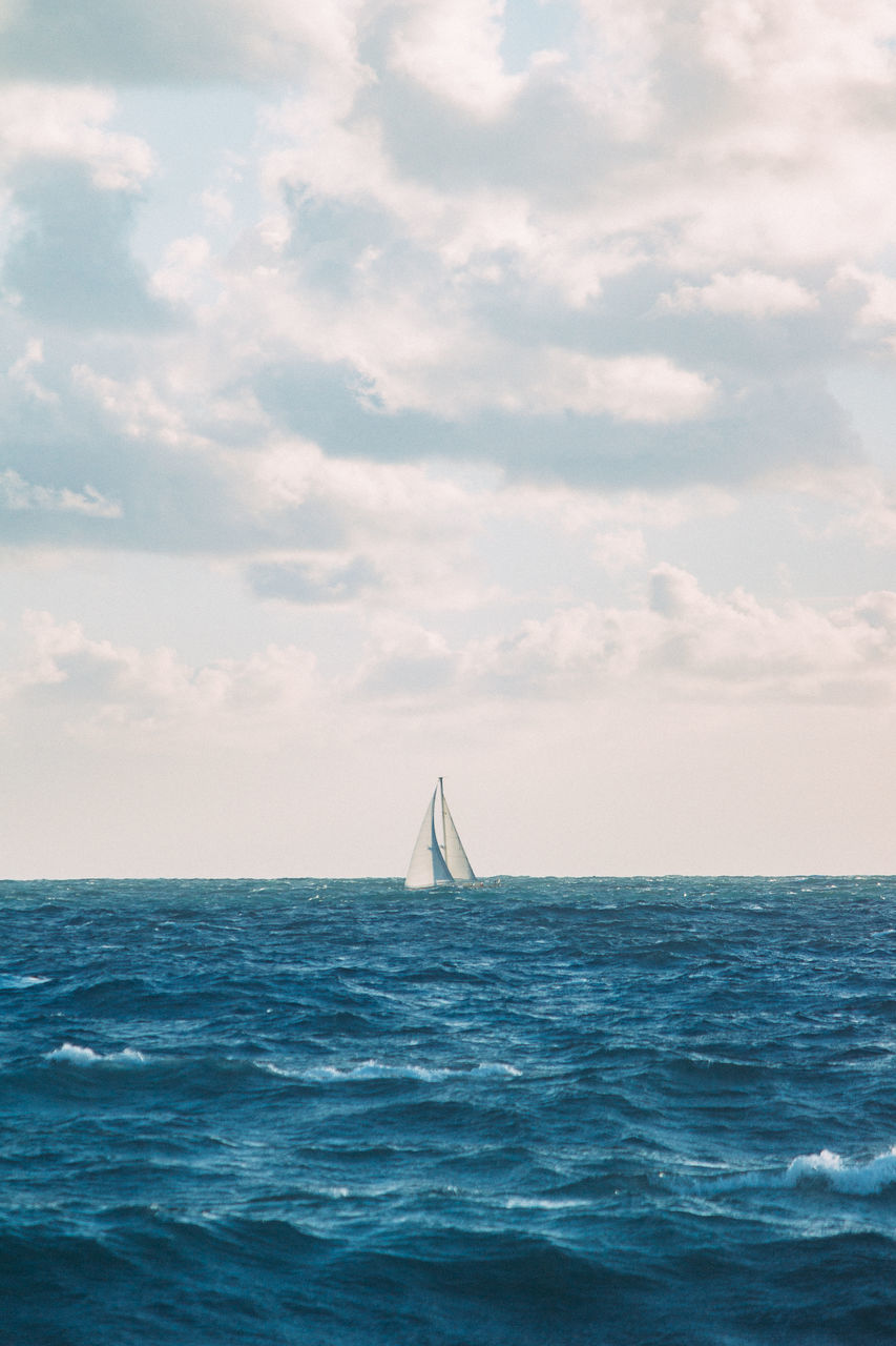 sea, water, sky, travel, sailing, vacations, nautical vessel, cloud - sky, horizon over water, outdoors, sailboat, sport, adventure, nature, no people, day