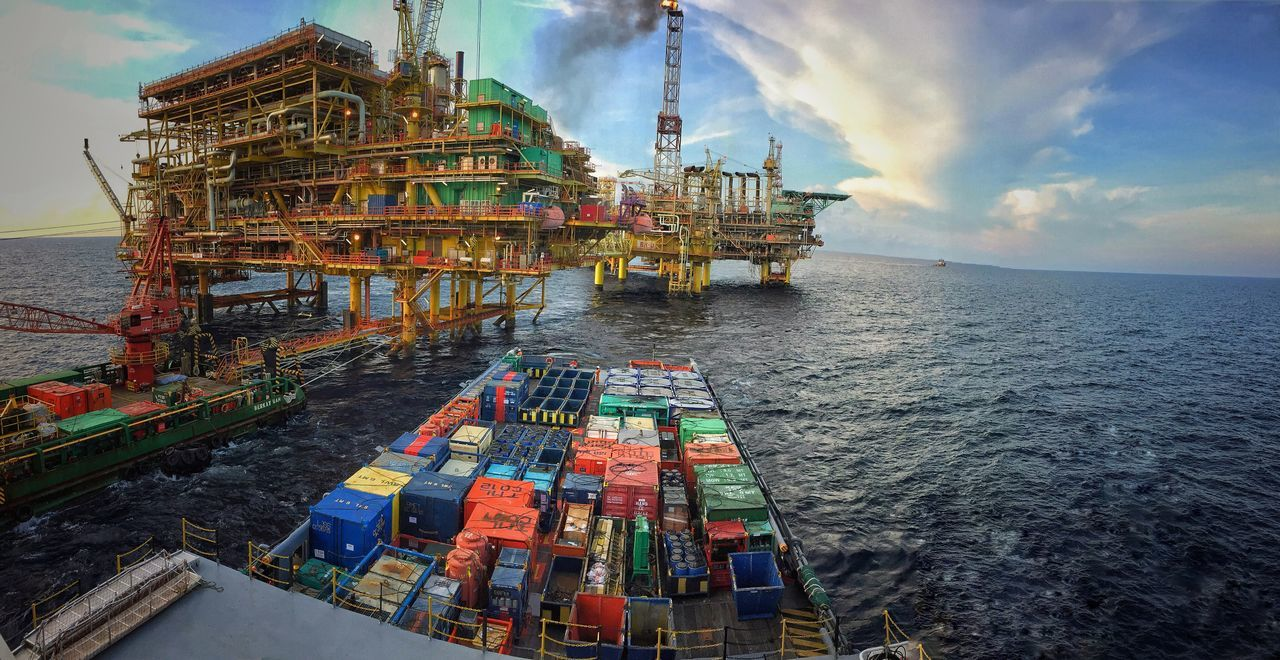 Oil And Gas Platform Seascape Sky Travel Photography Travelling Ship Vessel Jackup Rig Oil Rig Platform Yellow Colourful Seascape