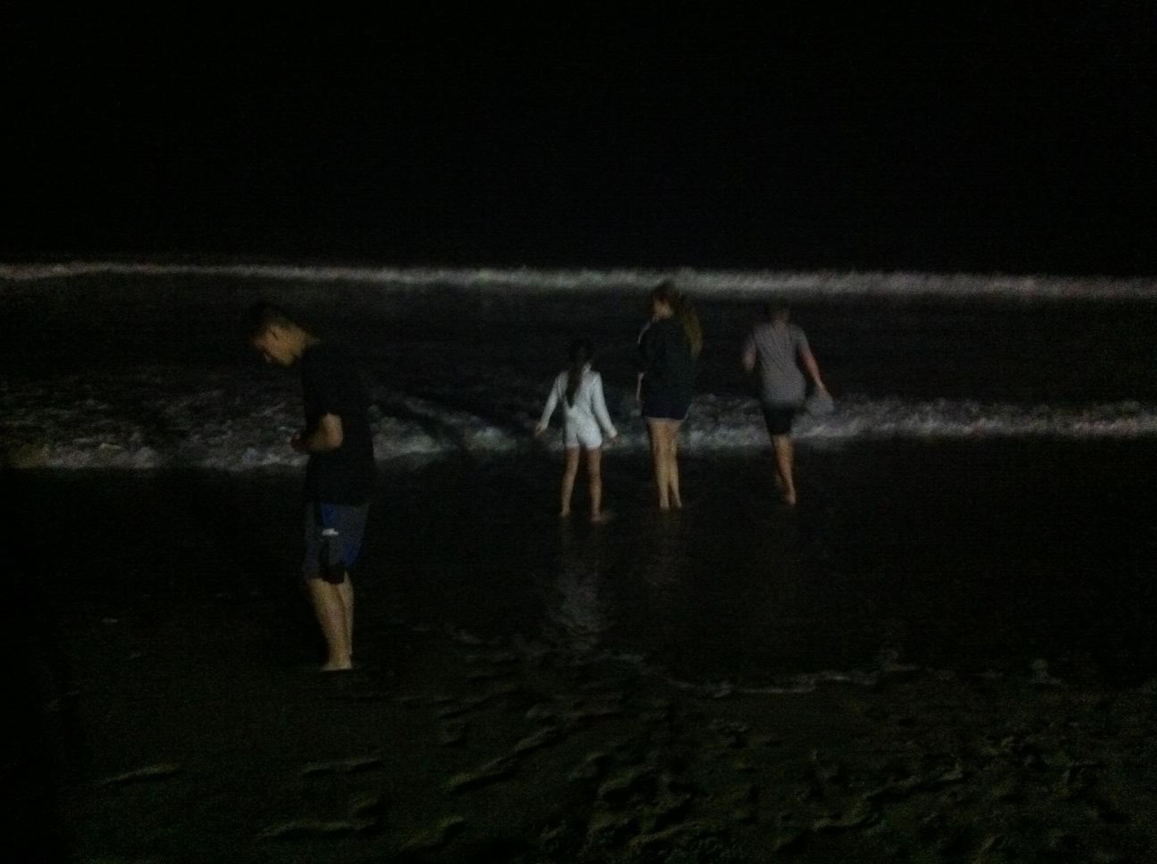 water, lifestyles, men, full length, rear view, leisure activity, person, sea, standing, walking, beach, night, casual clothing, togetherness, outdoors, shore