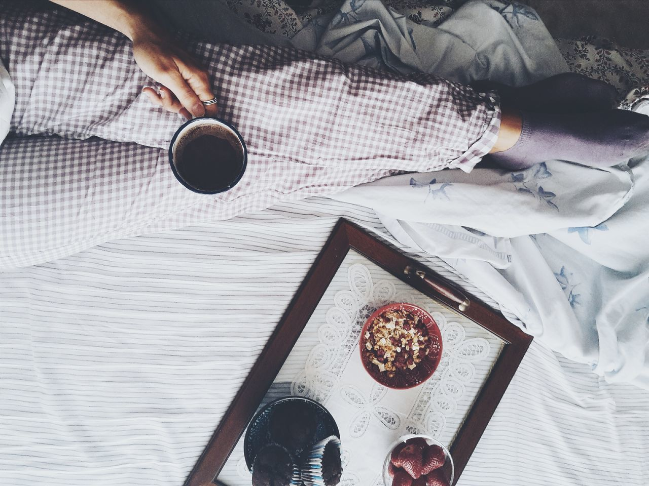 Sunday morning My Favorite Breakfast Moment Food And Drink Breakfast View From Above Flatlay Chocolate On The Bed Hand Breakfast In Bed Fruits Muesli Muffins Relaxing Market Reviewers' Top Picks