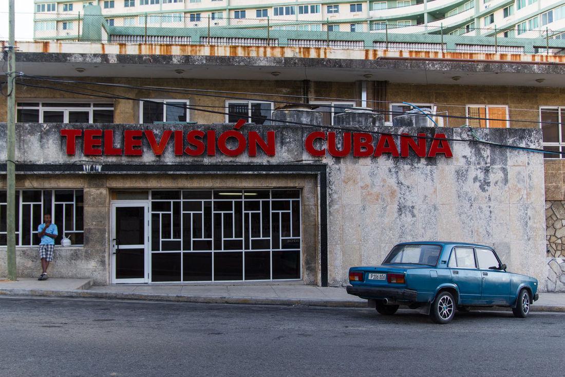 Architecture Blue And Red Blue Shirt City Cuba Day Havanna, Cuba La Habana, Cuba Old Car Old School Outdoors Parking Television Televisión Cubana TV Studio