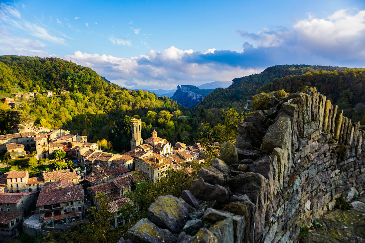 Sunset in a fantastic mountainous Spanish town of Rupit. Ancient Ancient Architecture Architecture Beauty In Nature Cloud Cloud - Sky Cloudy Day History Journey Landscape Mountain Mountain Range Nature No People Outdoors Rural Scene Scenics Sky Spanish Arquitecture Tourism Tranquil Scene Tranquility Travel Destinations Tree