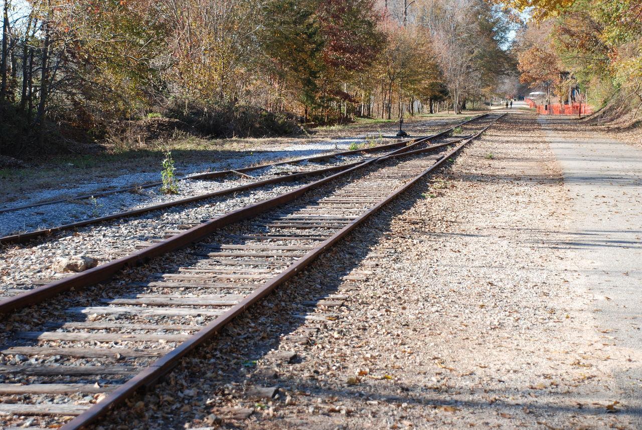 railroad track, rail transportation, transportation, day, tree, outdoors, public transportation, nature, railroad tie, full length, one person, sky, people
