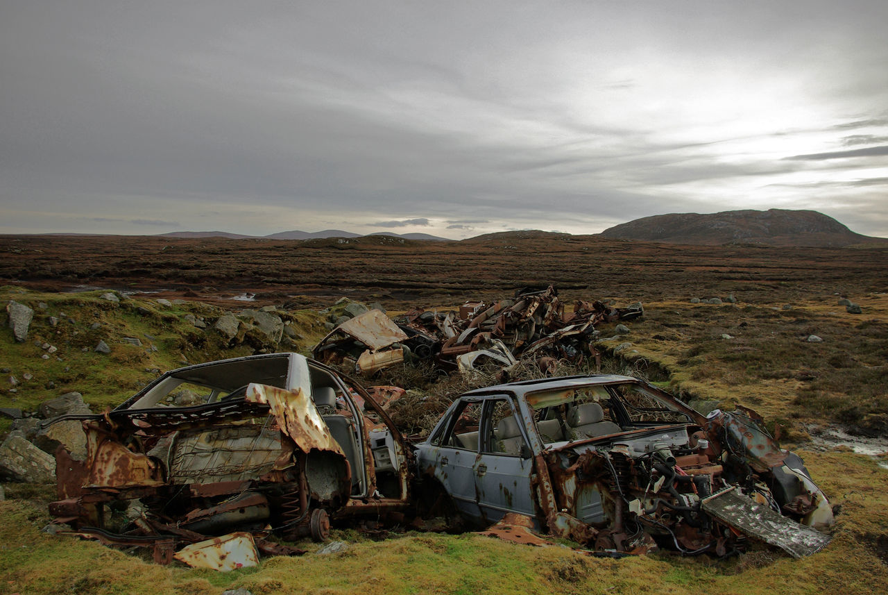 Scrap cars. Rural Scene Transportation Outdoors Sky Day No People Fly Tipping. Illegal Dumping Isle of Lewis, Outer Hebrides.
