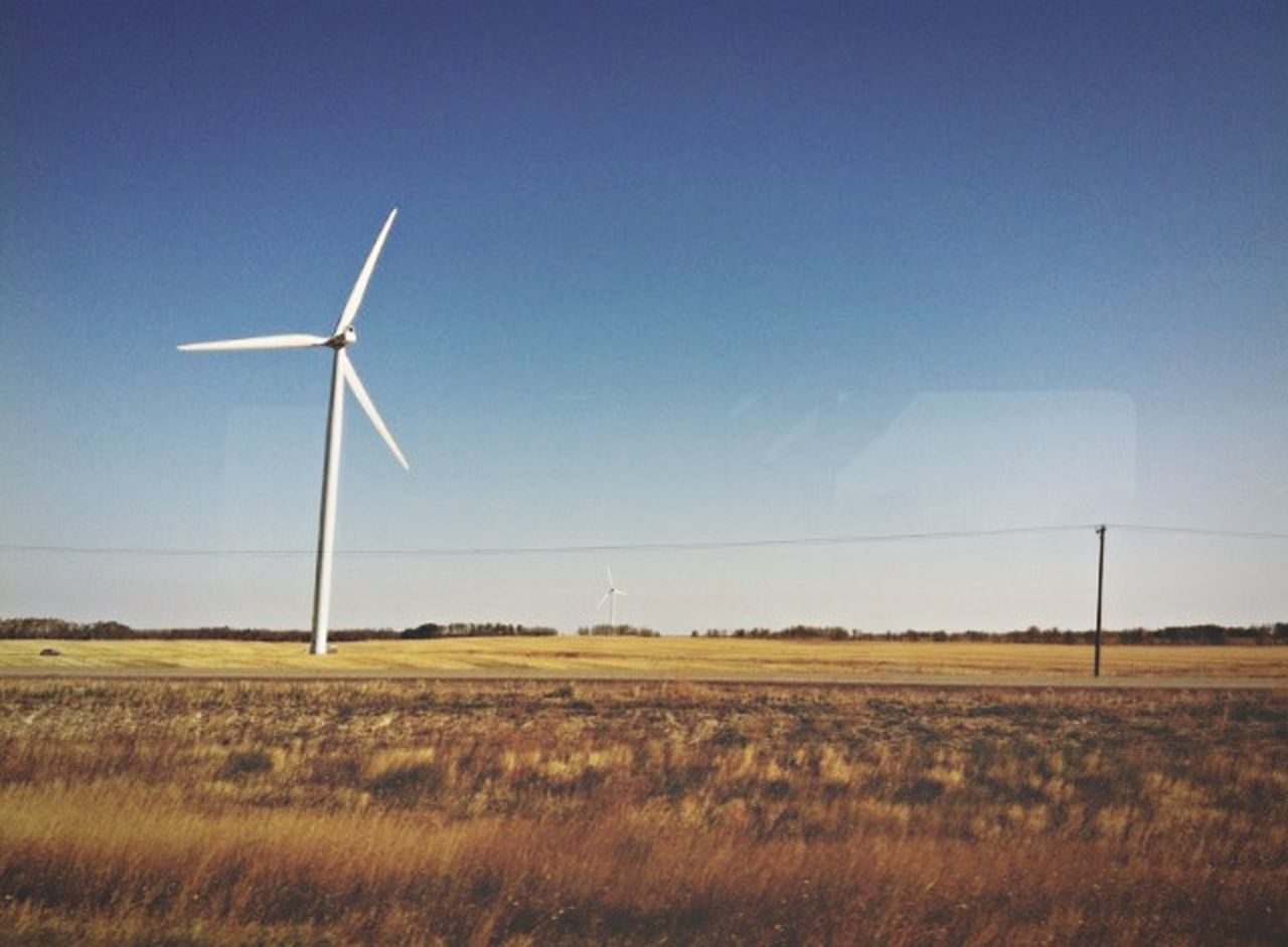 wind power, wind turbine, environmental conservation, field, alternative energy, renewable energy, fuel and power generation, grass, no people, nature, landscape, windmill, day, sky, rural scene, outdoors, clear sky, blue, industrial windmill, technology