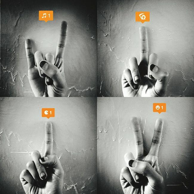 手指,表情。 GiddyLizer Hand Finger Fingers Blackandwhite Yeah Rock'n'Roll One Sign
