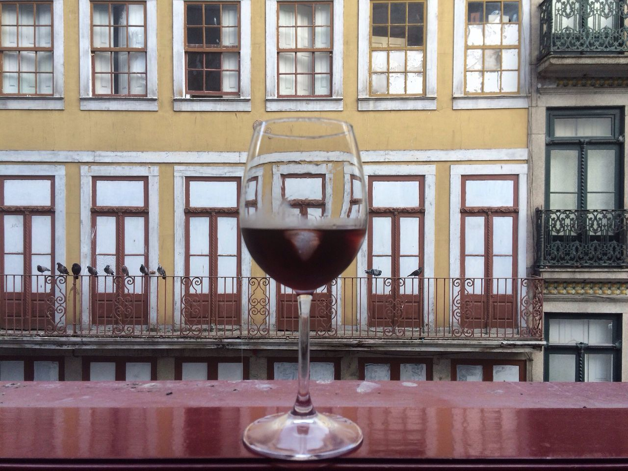 Wine Porto Glasse Of Wine Balcony View Built Structure Building Building Exterior CF Colors