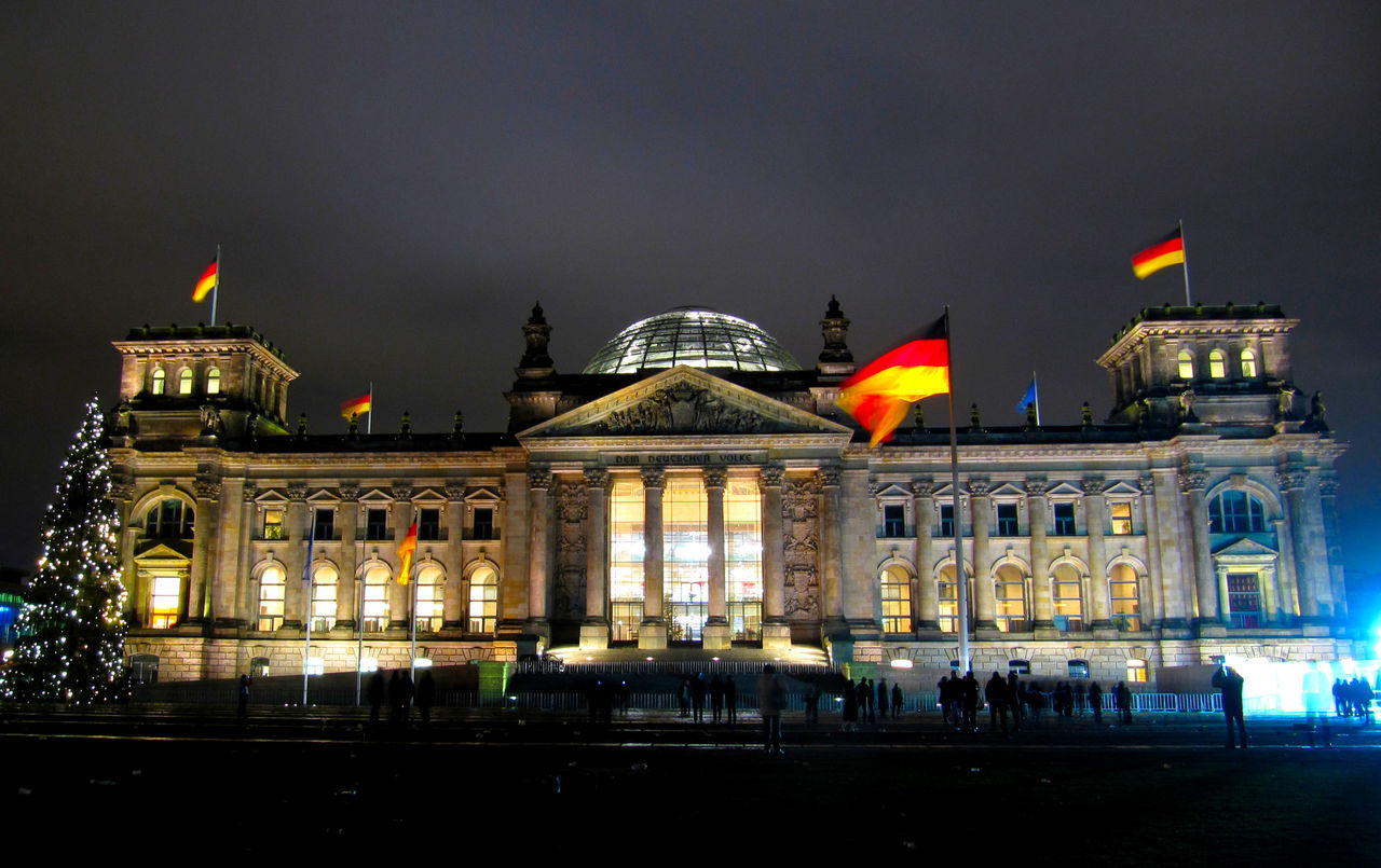 Reichstag Building Against Sky At Night