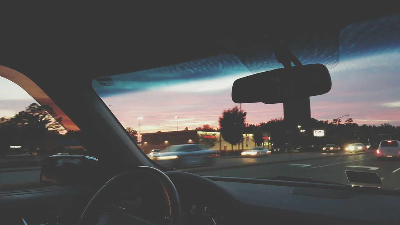 Beautiful Nature Sunset Driving Around Sky And Clouds Pink And Purple