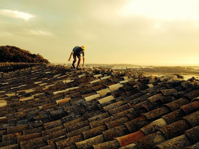 Sicily Italy Sunset Roof Rooftop Countryside Old Buildings Shingles