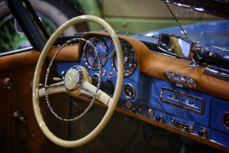 London Classic Car Show Vehicle Interior Transportation Mode Of Transport Car Steering Wheel Land Vehicle Retro Styled Old-fashioned Car Interior Dashboard Close-up No People Nautical Vessel Day Speedometer Outdoors Yachting Mercedes Mercedes-Benz Mercedes Benz Interior