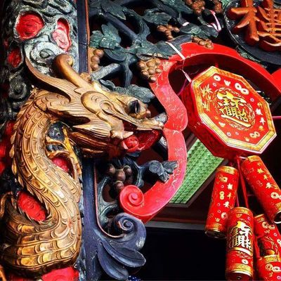 Chinese Dragon Chinese New Year Close-up Cultures Day Dragon Hanging No People Outdoors Red Tradition