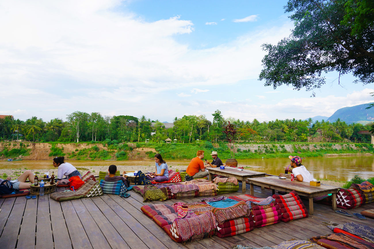 2017 Cafe Camping Day Feild Forest Freedom Laos Luang Phabang Luang Prabang Mekong River Nature Outdoors People Real People Relaxation Restaurant River Sitting Sky Tree Vacations ユートピア ラオス ルアンパバーン