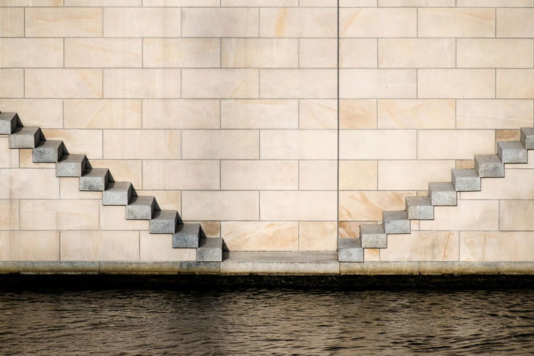 Waterstairs Berlin Photography Minimalist Architecture Pattern, Texture, Shape And Form Wall Architectural Detail Architectural Feature Backgrounds Berlinmalism Day Fujix_berlin Fujixseries Minimalism Minimalist Photography  Minimalistic Minimalobsession No People Outdoors Ralfpollack_fotografie Urbanphotography The Graphic City