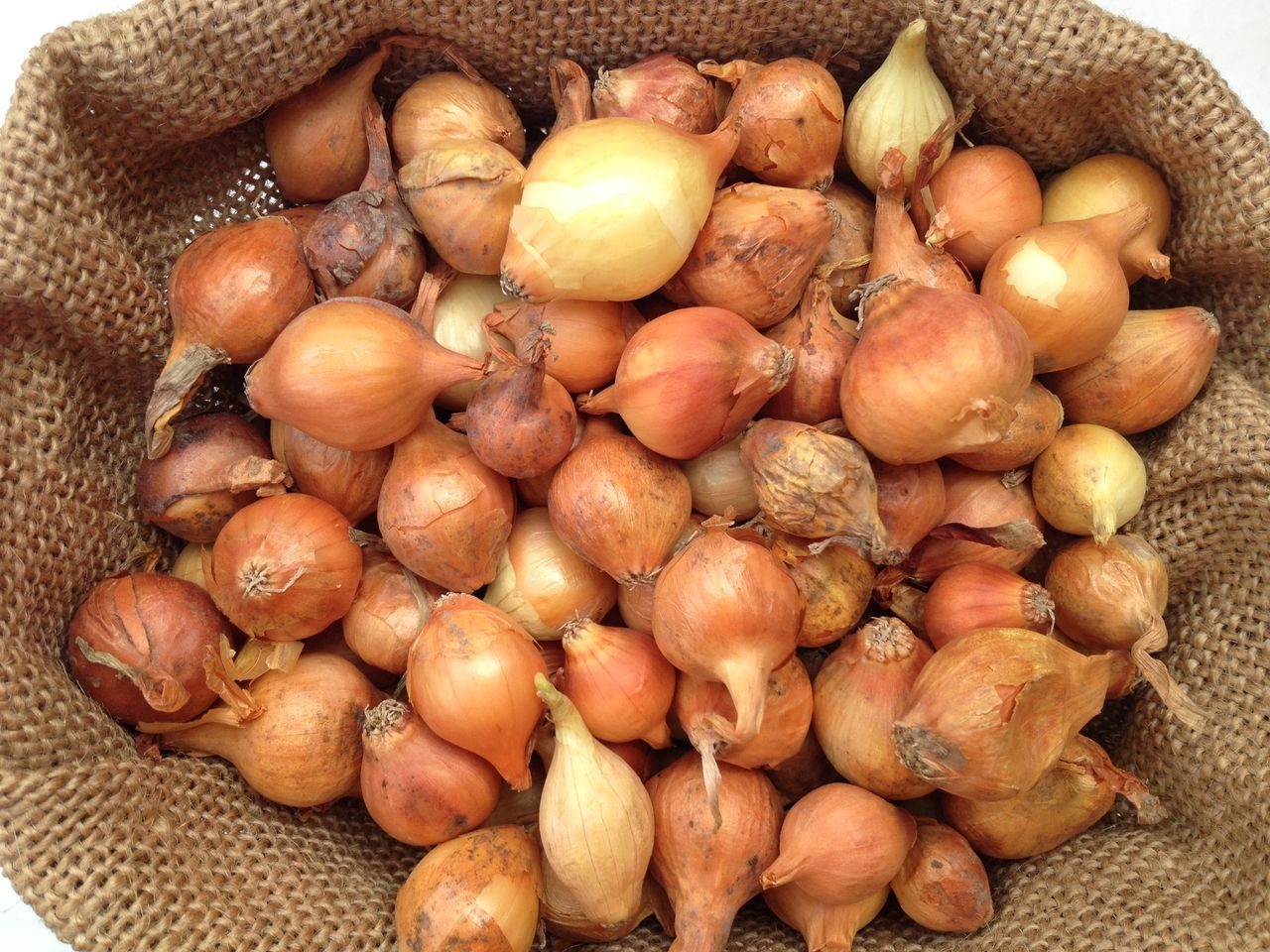 High Angle View Of Onions In Sack