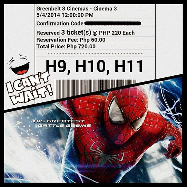 Reserved and all set for tomorrow. Spidey-spidey time. ? @meldie_mandia and TheBabe are both excited. ❤ Amazingspiderman2 MovieDate Qt LoVe greenbeltcinemas