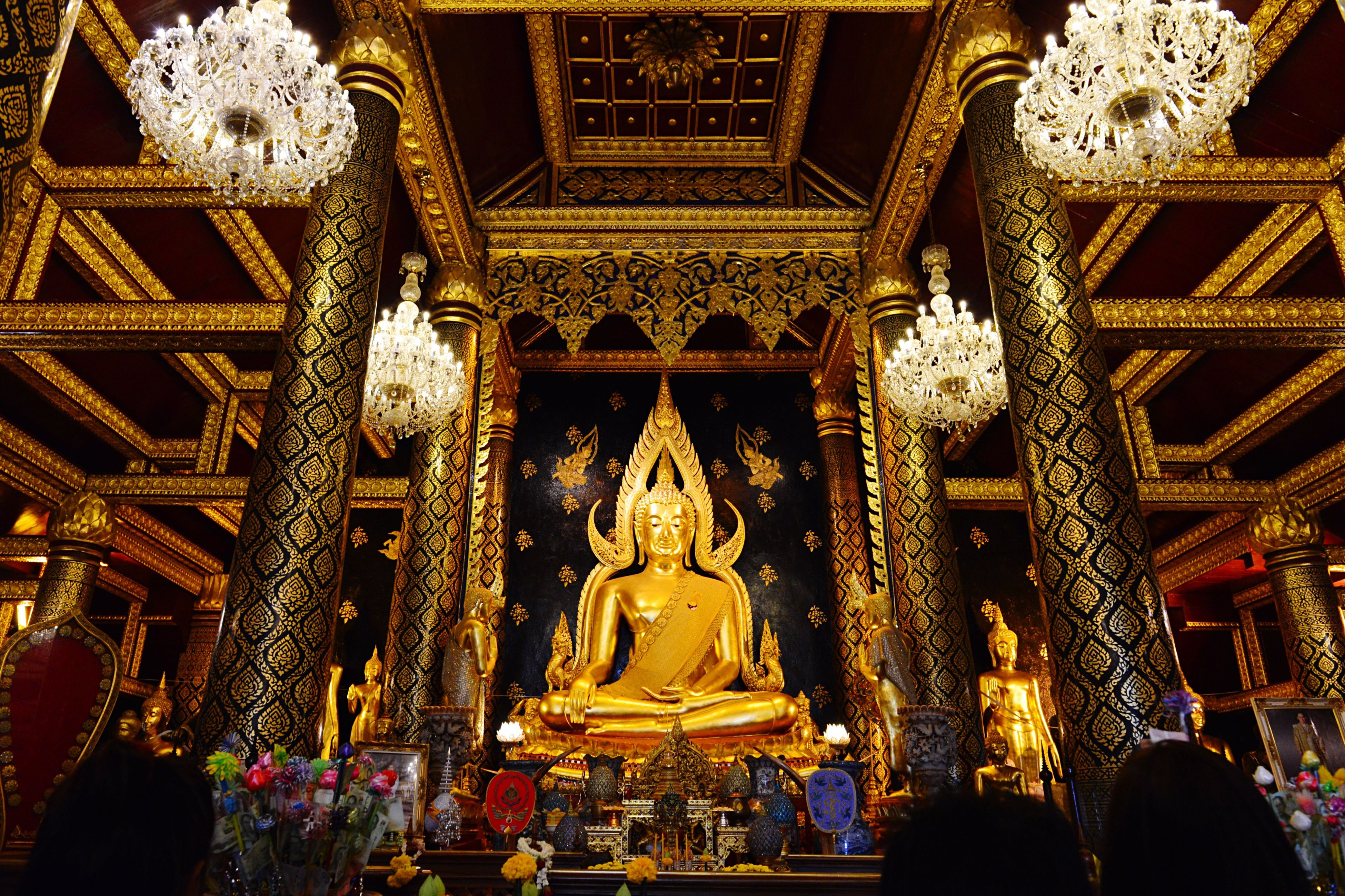 gold colored, religion, spirituality, human representation, gold, statue, place of worship, sculpture, no people, indoors, day