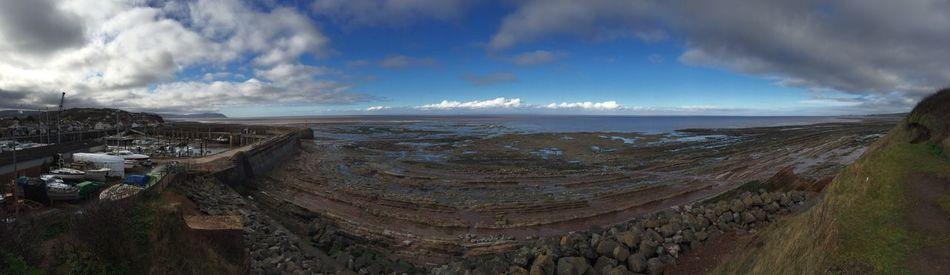 Watchet Harbour View Panaramic Sea Sky Mud Flats Grass Clifftop Boats The KIOMI Collection