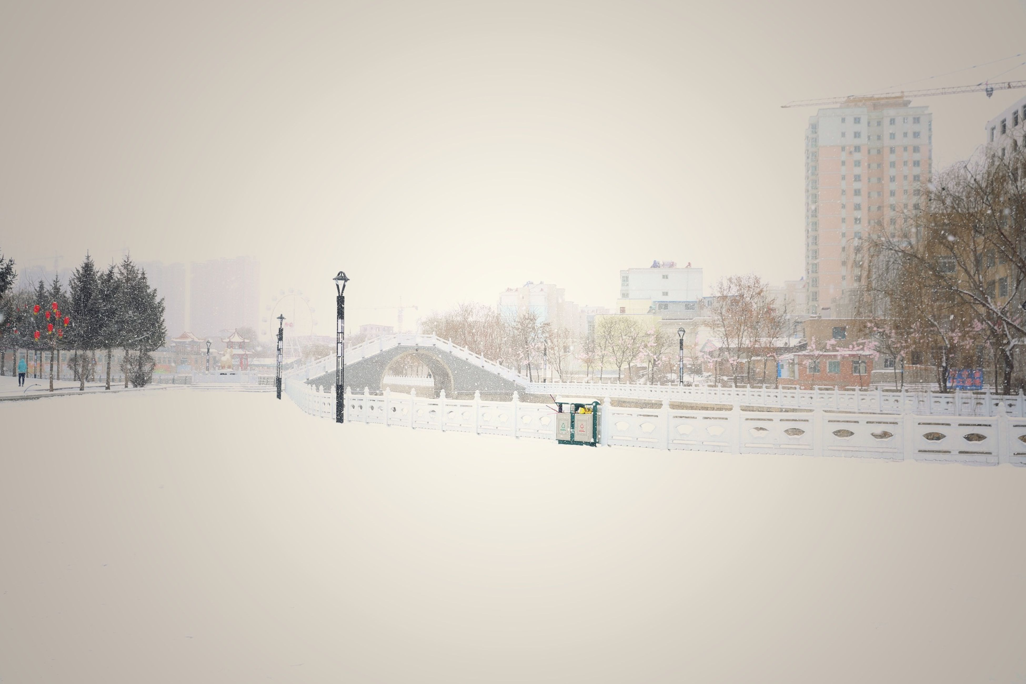 snow, winter, cold temperature, season, weather, built structure, architecture, clear sky, covering, tree, building exterior, copy space, frozen, nature, covered, white color, bare tree, railing, field, fence