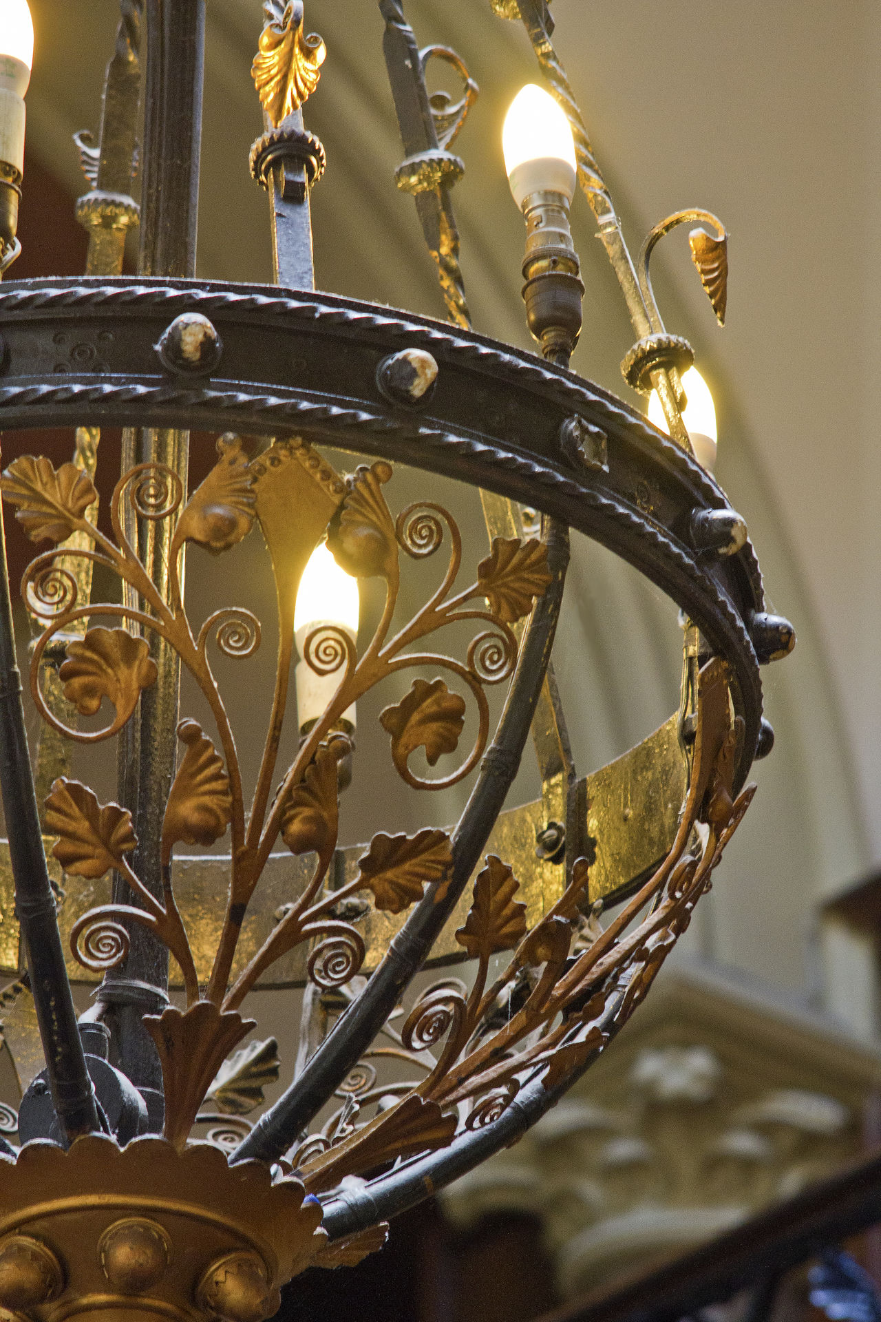 Art And Craft Chandalier Close-up Day Design Gilt Gold Colored Illuminated Indoors  Low Angle View No People Ornate