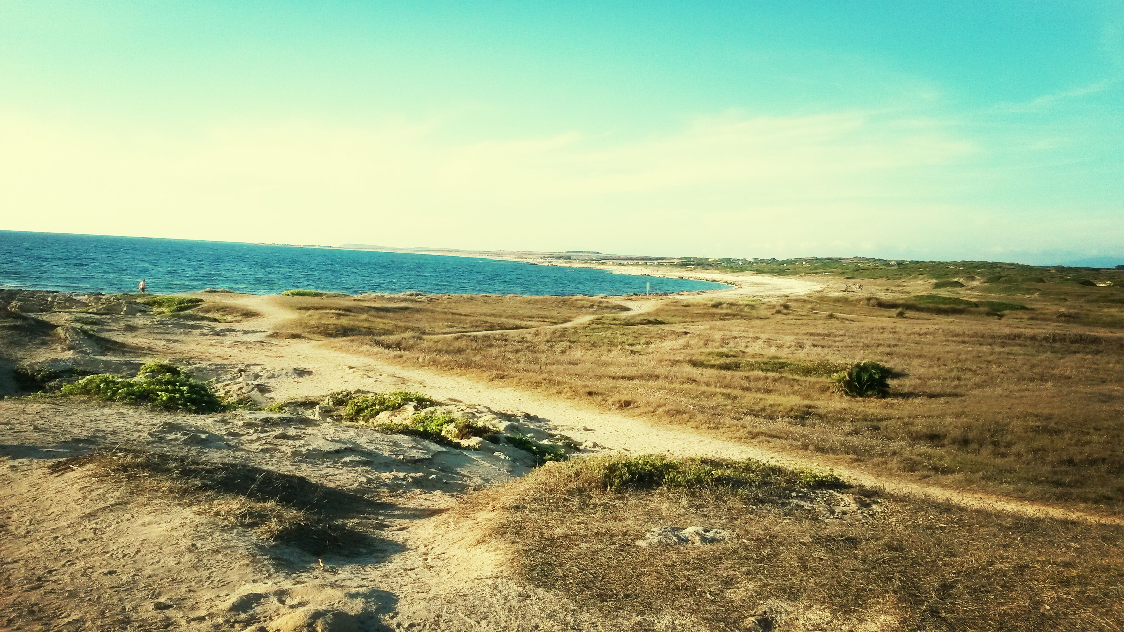 sea, water, horizon over water, sky, tranquil scene, tranquility, scenics, beach, beauty in nature, blue, nature, shore, grass, sand, idyllic, cloud, coastline, remote, day, cloud - sky