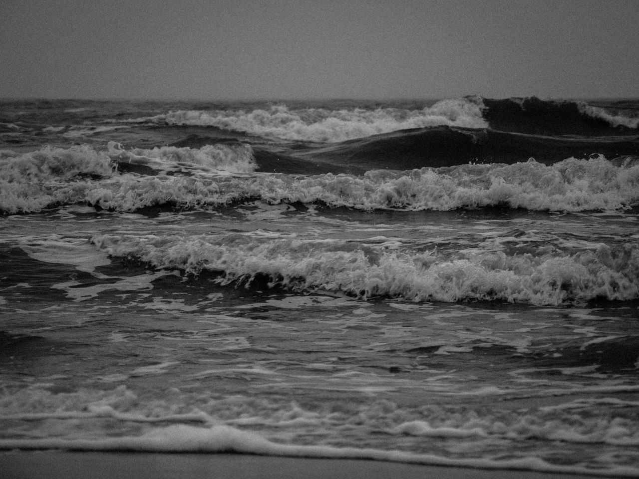 Beach Beauty In Nature Black And White Day Horizon Over Water Landscape Nature No People Outdoors Power In Nature Sand Scenics Sea Sky Tide Tranquil Scene Tranquility Water Wave