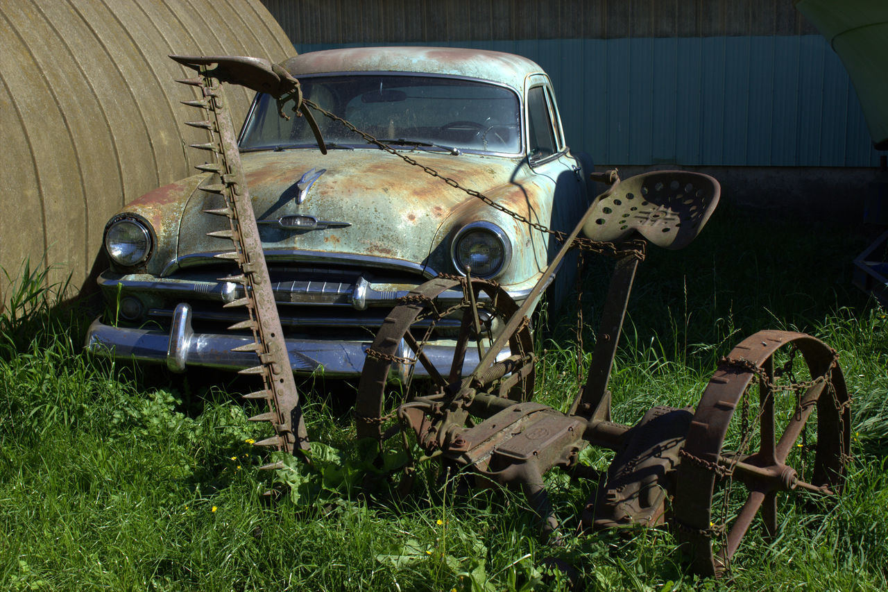 damaged, abandoned, obsolete, deterioration, run-down, car, rusty, bad condition, transportation, weathered, field, no people, day, old-fashioned, outdoors, scrap metal, grass, rotting