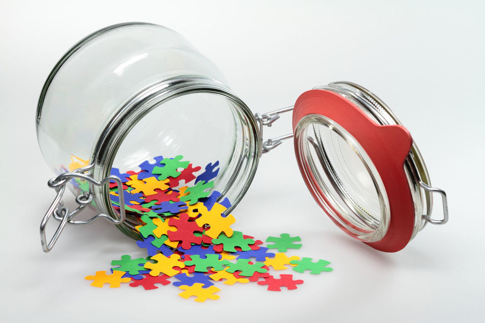 Beautiful stock photos of puzzle, Close-Up, Colorful, Container, Glass - Material