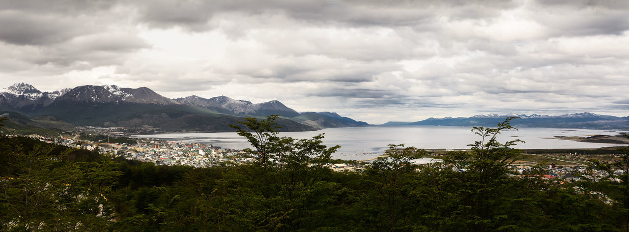 Beagle channel and Ushuaia (Argentina) Aerial America Andes Argentina Bay Beagle Beagle Channel Canal De Beagle Channel Cityscape Cloudy Harbor Land Of Fire Landscape Mountain Panoramic Patagonia Port Scenic Sea Southernmost Tierra Del Fuego Travel Ushuaïa Water