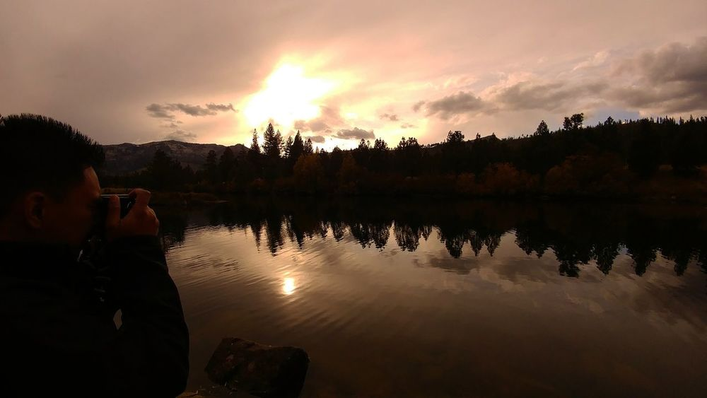 Sepia pond One Person Reflection Sunset Lake Nature Nature Landscape Silhouette Cloud - Sky Outdoors Travel Destinations Adventure Mix Yourself A Good Time Sky Lost In The Landscape Second Acts Perspectives On Nature EyeEmNewHere