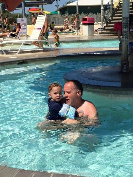 Baby Joey and me swimming at Jungle Jim's Water Park LaFamilia LaDolceVita