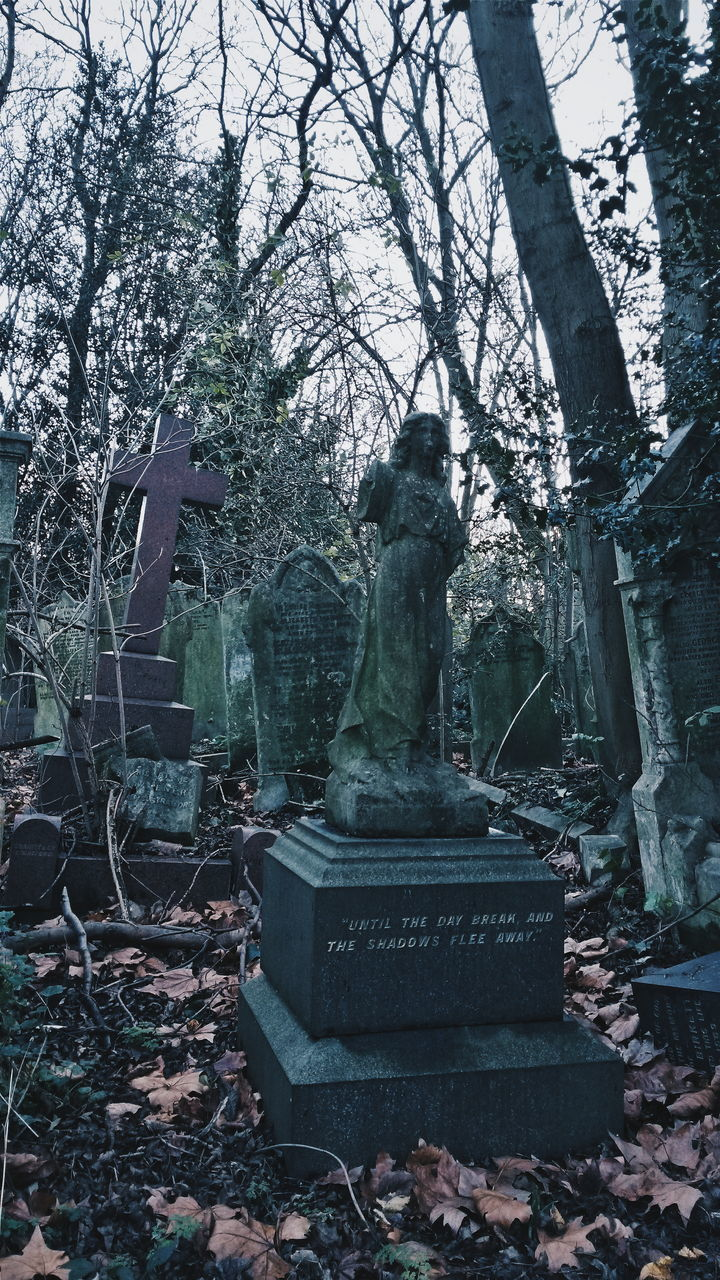 statue, cemetery, tombstone, tree, memorial, day, sculpture, outdoors, graveyard, grave, no people, gravestone, nature, beauty in nature