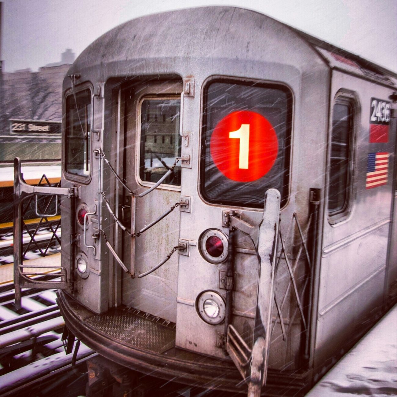 Northbound #1 train at 231 Street during the storm. NYC 1 Train Subway Train Train Station New York Snow In Transit Public Transportation Metal Font Mta Helvetica