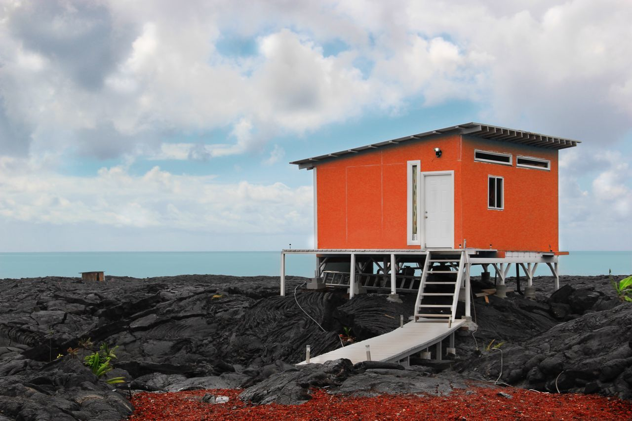 The Architect - 2017 EyeEm Awards Sky Cloud - Sky Sea Built Structure Architecture No People Outdoors Nature Day Beach Building Exterior Horizon Over Water Water Beauty In Nature Ladyphotographerofthemonth Hawaii Beach Hut Beach House Ocean Ocean View Lava Vulcanic Vulcanic Landscape